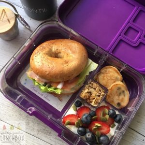 Mini size Peanut Butter Chocolate Pancakes are great for adult lunchboxes