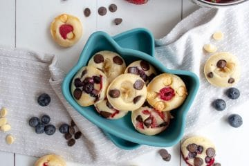 Picture of cooked Fruit and Chocolate Chip Pancakes Made in Muffin Tin