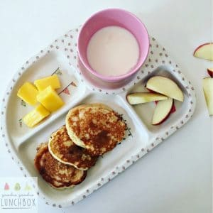 delicious refined sugar free apple blueberry pancakes, perfect for breakfasts with fresh fruit