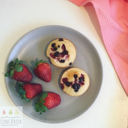 Fruit and Chocolate Chip Muffin Tin Pancakes perfect for school lunches or breakfast
