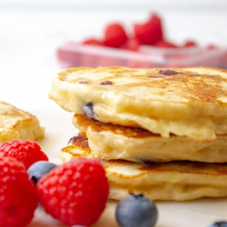 apple blueberry pancakes, no added sugar and packed with protein