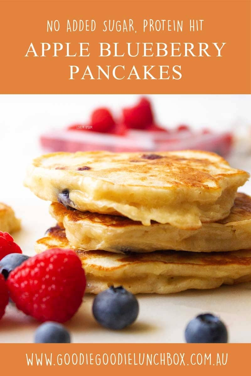 apple blueberry pancakes great for school lunches, no added sugar and packed with protein