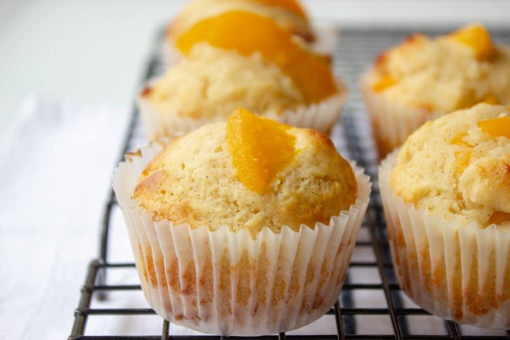 peach ricotta and vanilla bean muffins