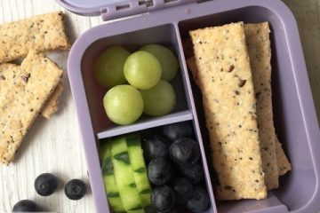 Seedy Wholemeal Crackers, healthy nut free and vegan cracker. Delicious in the lunchbox or on a share platter