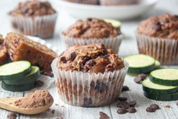 double chocolate chip muffins with zucchini