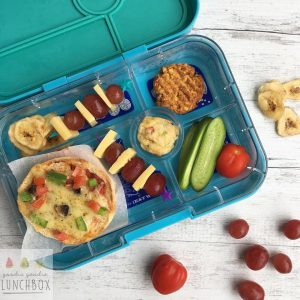 Pizza Topped English Muffins are a great way to vegetables in the lunchbox and make a nice change from sandwiches.