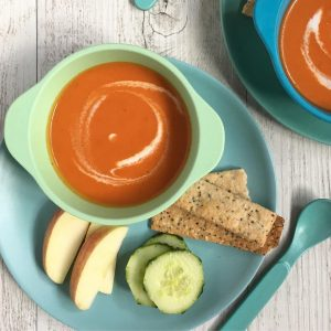 Creamy Tomato Soup is a kid friendly and vegan soup that is great for school lunches.