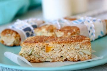 These nut and egg free apricot and coconut oat bars are a delicious treat for school lunches.