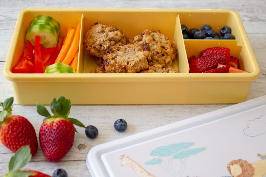 Apple Oat Cookies are sweetened only with fruit and have no added sugar. These are nut and dairy free and just perfect for school lunches or baby led weaning.