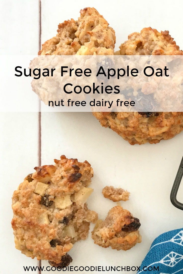 These Sugar Free Apple Oat Cookies are sweetened only with fruit. Deliciously wholesome and totally kid approved. The Apple Oat Cookies are nut and dairy free so fantastic for school lunches. They are also fantastic for baby led weaning (from 9 months) as they are soft and full of goodness. #appleoatcookies #sugarfreebaking #sweetenedwithfruit #sugarfree #lunchboxbaking #sugarfreelunchboxes