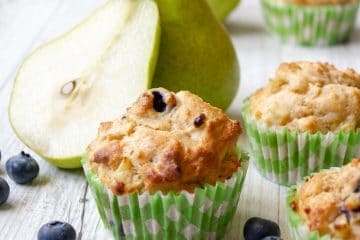 Pear Blueberry and Ginger Muffins no added sugar and sweetened only with fruit