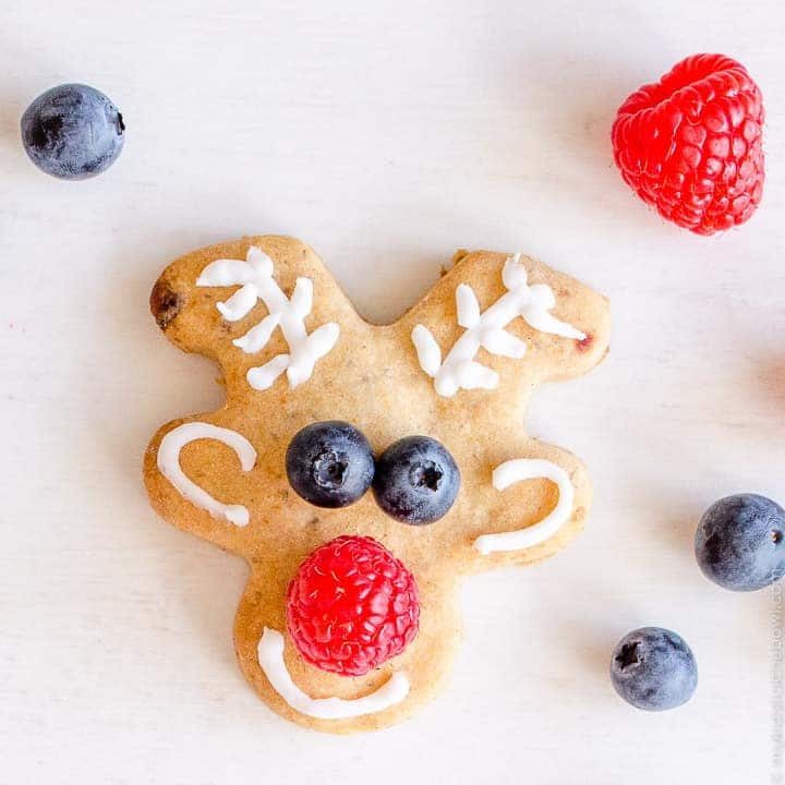 Low Sugar Reindeer Cookies are a healthy fun idea for Christmas class party food