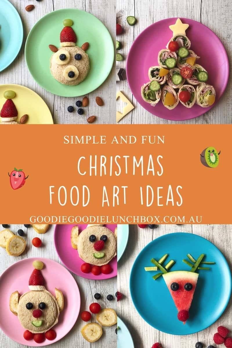 These super simple and festive Christmas Food Art Ideas have a focus on fun - not sugar. From Snowmen to Elves these ideas will please the pickiest eater. #christmasfoodart #foodartforkids #funchristmasfood #noaddedsugar #healthychristmas #healthychristmassnacks #snacksforkids #christmassnacksforkids