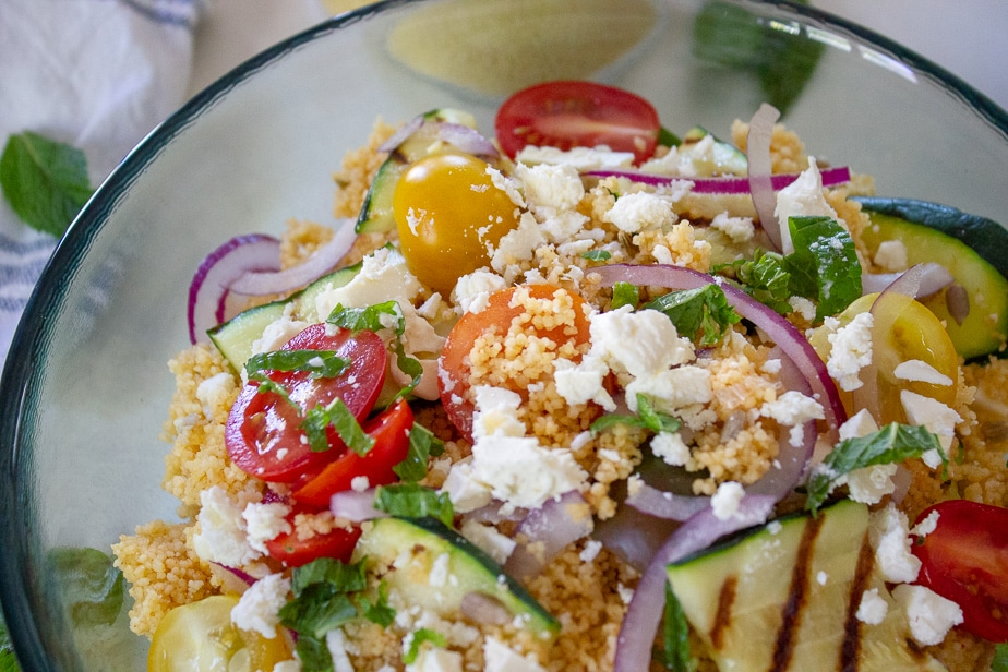 spiced cous cous salad with tzatziki