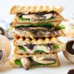 stack of mushroom spinach toasties