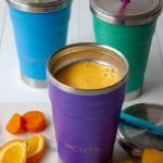 Image of smoothie cups with mango orange and carrot smoothie