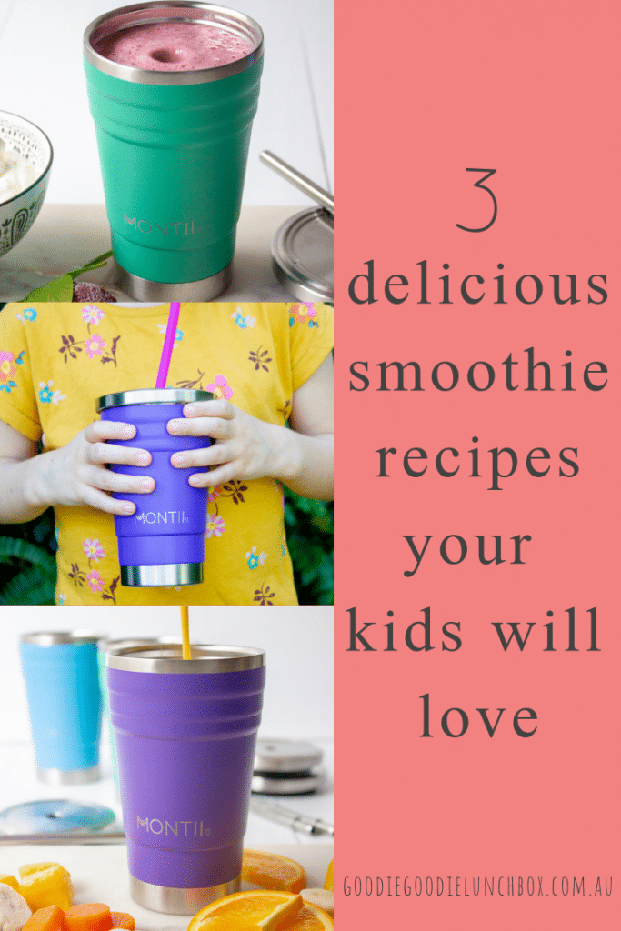 Pinterest image of three Healthy Kids Smoothie Recipes
