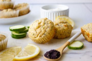 picture of lemon poppy seed muffins with zucchini