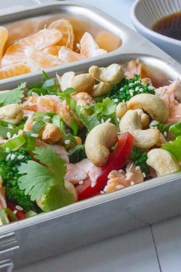 hot smoked salmon and broccoli rice salad