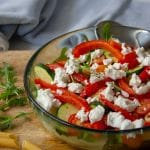 roasted vegetable and rocket salad with goats cheese