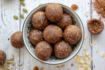 nut free chocolate bliss balls in a bowl