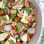 Walnut, Pea and Chorizo Salad with Brie
