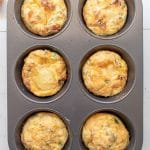 Prepared muffin tin frittatas the egg mixture has set and lightly golden