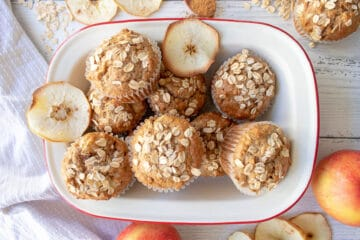 view from above of bowl of apple muffins
