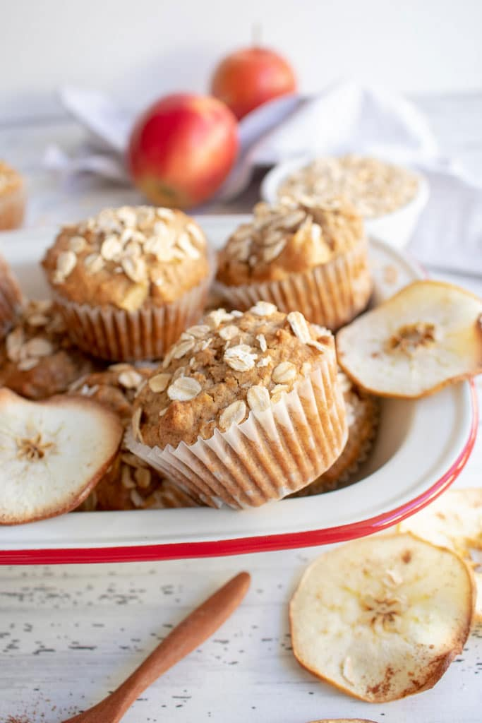bowl of apple muffins