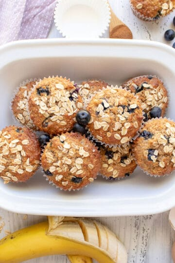 Blueberry Banana Muffins in a tin.