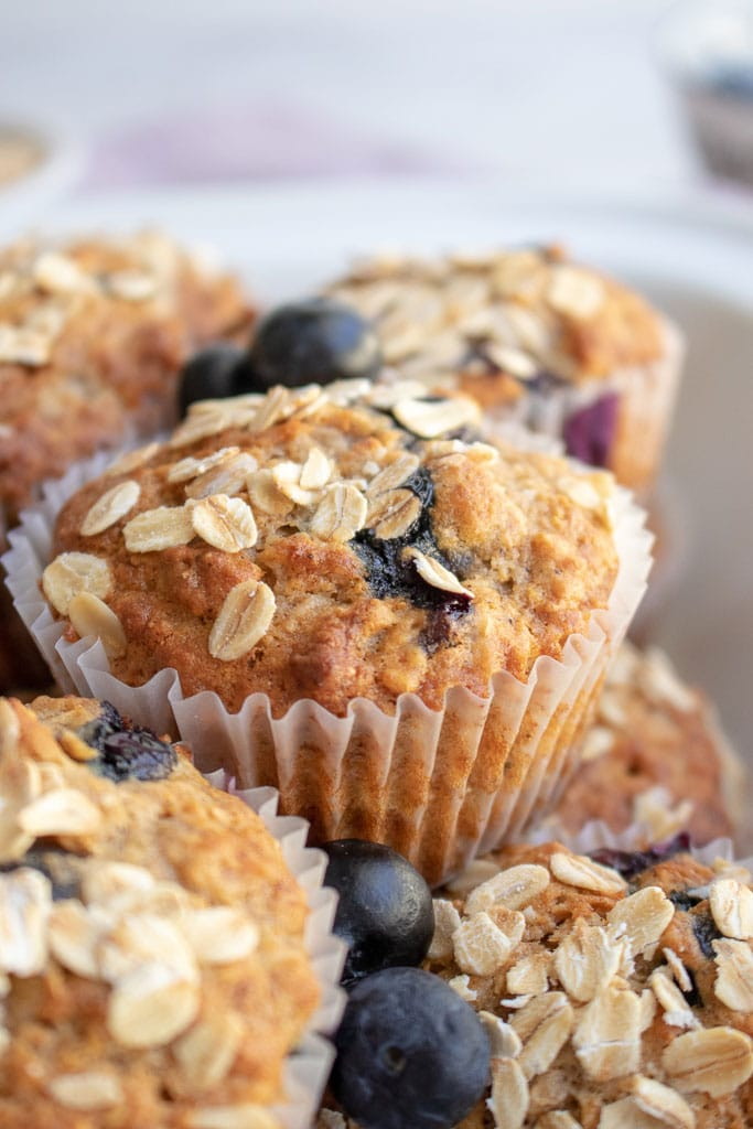 close up picture of blueberry banana muffin