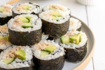 picture of a plate of homemade sushi