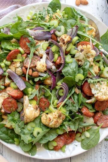 Roasted Cauliflower and Chorizo Salad