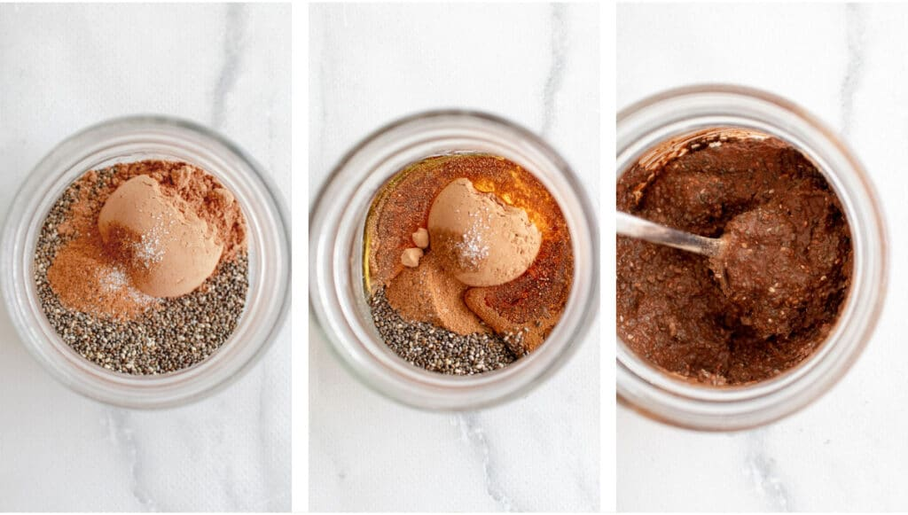 Images of chocolate chia pudding being made in a jar.